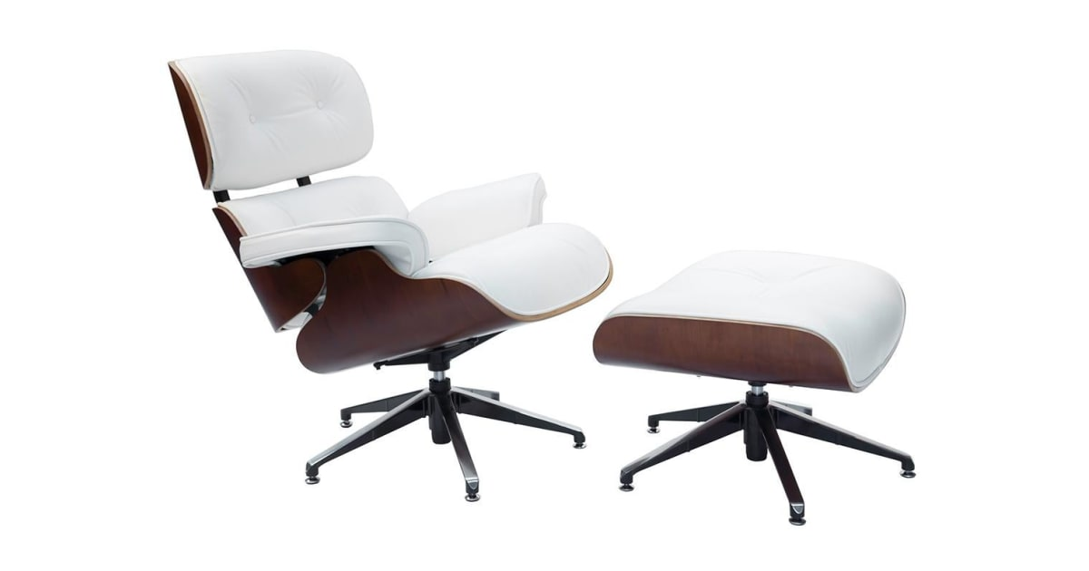 Replica Eames Lounge Chair   5 Star Ottoman   White   Indoor Furniture  