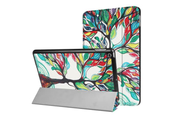 For iPad 2018 2017 Case Colorful Tree Durable Protective 3-fold Leather Cover
