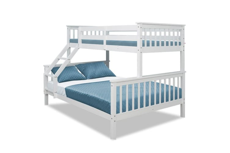 Kingston Slumber 2in1 Single on Double Bunk Bed Kids White Solid Wood Timber Loft Furniture Slats