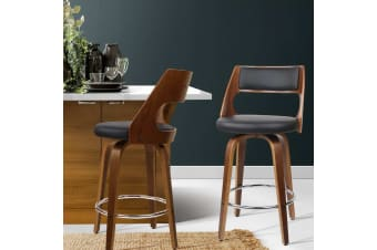 Artiss 2 Wooden Bar Stools Swivel Bar Stool Kitchen Dining Chair Cafe Black 76cm