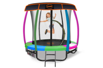 Kahuna Trampoline 6ft with Basketball set & Roof - Rainbow