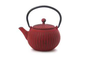 Teaology Cast Iron Teapot 500ml Tea Pot Kettle Mesh Stainer Ribbed Red Black