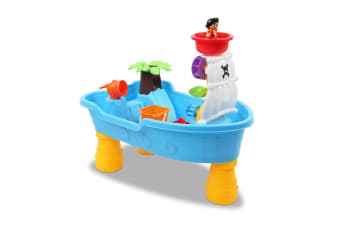 Keezi Kids Sand And Water Table Toys Play Set For Outdoor Sandpit Sand Pit Pirate Ship Shower Bath Toy Blue