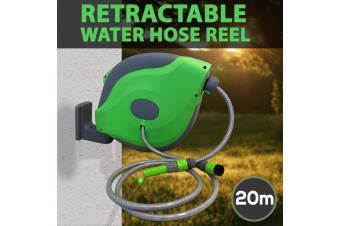 20M Retractable Garden Hose Reel Wall Mount Water Rewind UV Resistant PVC