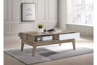 Coffee Table w/ 2 Drawers Scandinavian Interior Wooden - Oak