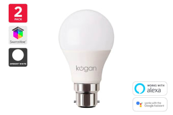 Kogan SmarterHome™ 10W White Smart Bulb (B22) - Pack of 2