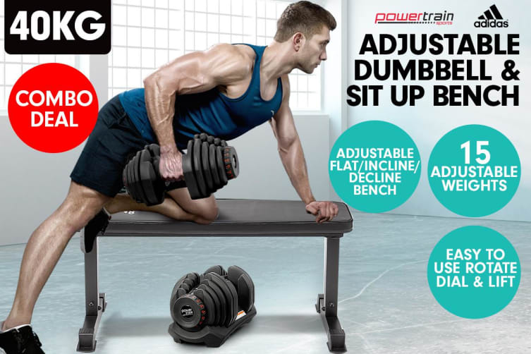 40kg Powertrain Adjustable Dumbbell  Home Gym w/ Adidas Bench 10437