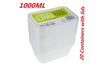 20 x 1000ML RECTANGLE TAKEAWAY CONTAINERS w LIDS DISPOSABLE PLASTIC FOOD CONTAINER 1L