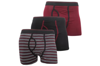 FLOSO Mens Cotton Mix Key Hole Trunks Underwear (Pack Of 3) (Red) (Small (Waist: 30-32inch  76-81cm))