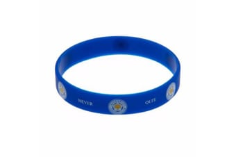 Leicester City FC Official Rubber Foxes Crest Wristband (Blue) (One Size)