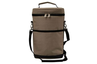 Karlstert Premium 2 Bottle Insulated Tote Carrier Wine Outdoor Travel Bag Brown