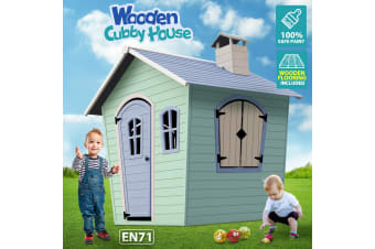 Wooden Cubby House Outdoor Children Playhouse Kids Cottage Toy Play