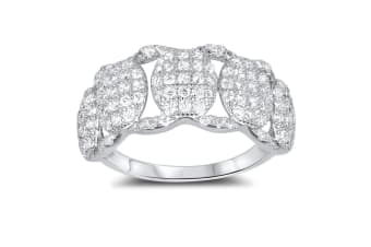 .925 Links Cz Pave 925 Silver Ring-Silver/Clear   Size US 7