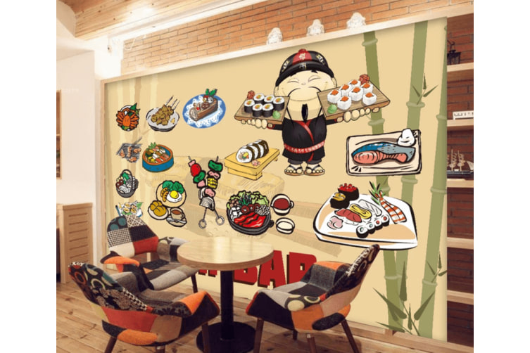 3D Various Delicious Sushi 959 Woven paper (need glue), XL 208cm x 146cm (WxH)(82''x58'')