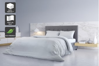 Ovela 100% Tencel™ Quilt Cover Set (King, Pale Grey)