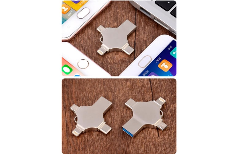 Metal Cross Four-In-One Mobile Phone Usb Flash Drive Stainless Steel Silver 128G