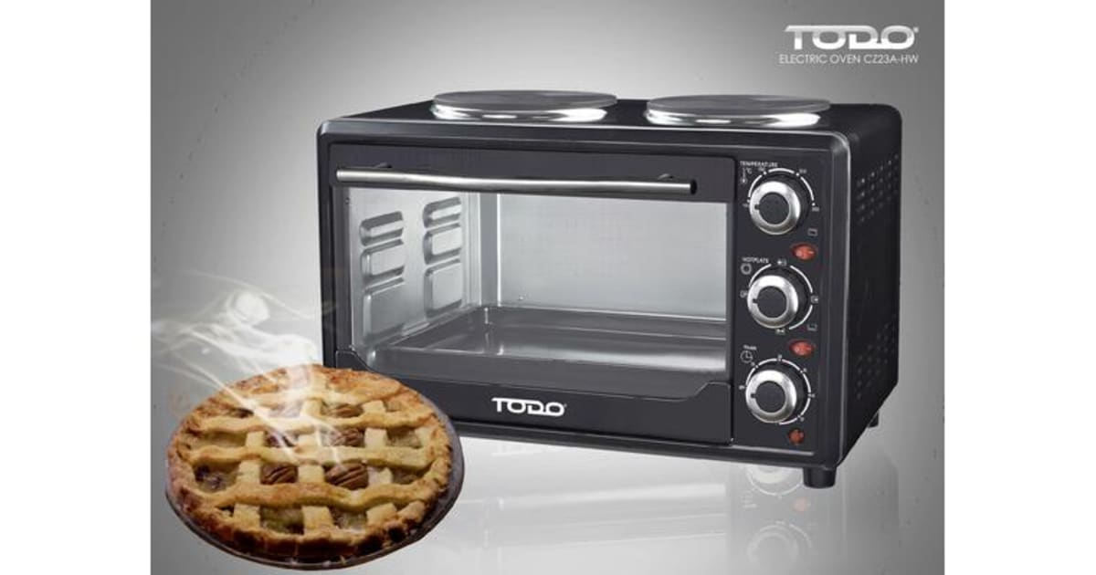 Todo 23l Benchtop Electric Oven Two Hot Plates Hotplate