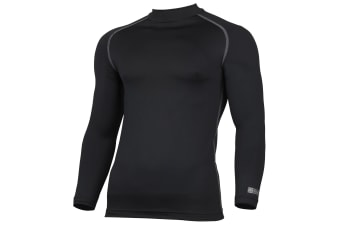 Rhino Mens Thermal Underwear Long Sleeve Base Layer Vest Top (Black) (3XL)