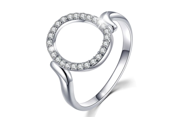.925 Circle Of Fame Ring-Silver/Clear   Size US 7