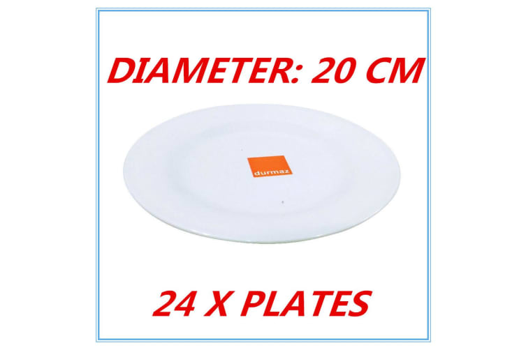 24 x 20cm Melamine Round Plate Birthday Wedding Party Dinner White Cafe Snack Dish