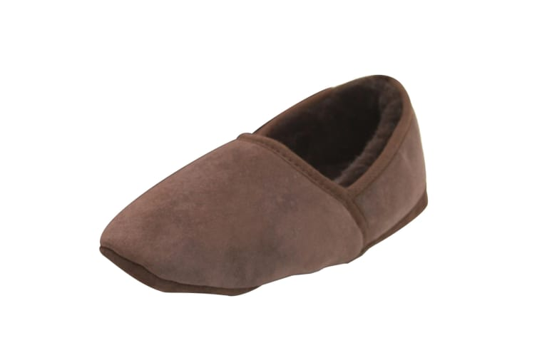 Eastern Counties Leather Mens Full Sheepskin Turn Slippers (Chocolate) (10 UK)
