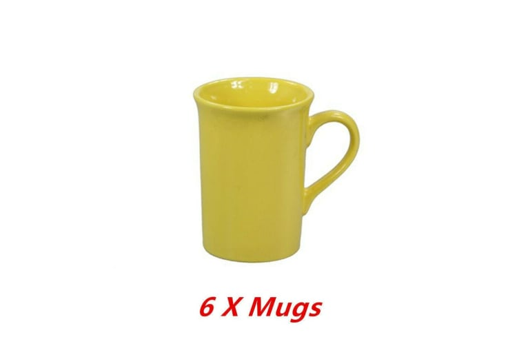 6 x Ceramic Mug Yellow Tall Flare Coffee Mugs Drinking Tea Cup Tumbler Event Party