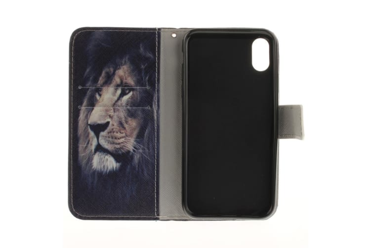 For iPhone XS X Wallet Case Lion Pattern Styled Durable Protective Leather Cover