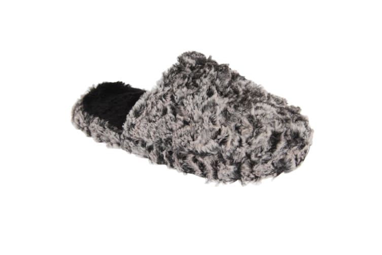 Slumberzzz Womens/Ladies Fluffy Two-Toned Slip-On Slippers (Marl Black) (7/8)