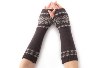 Women's Winter Warm Snowflake Print Fingerless Gloves Hand Warmer  DarkGray