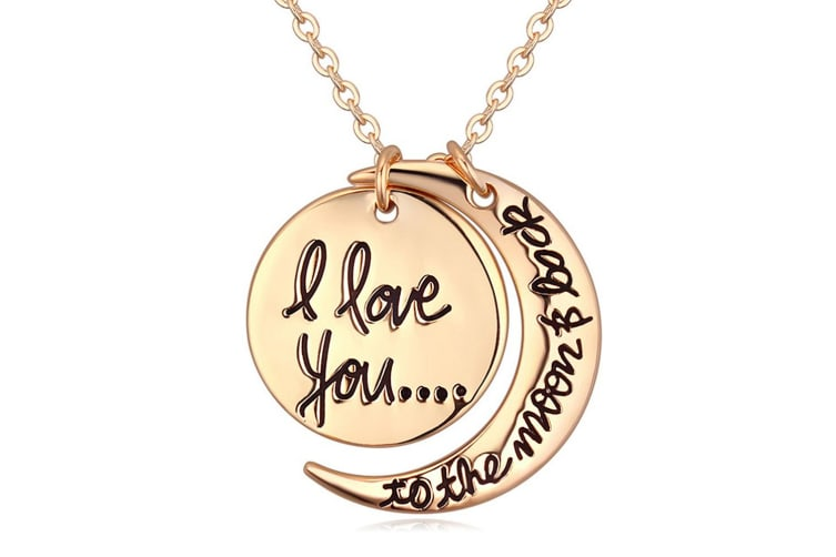 Love You To The Moon & Back Necklace-Gold