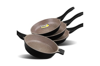 K2 4pc Ceramic Stone Deep Frying Pan Frypans Cookware Induction Non Stick Pan