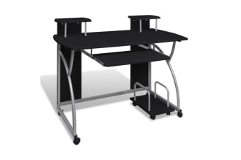 vidaXL Mobile Computer Desk with Pull Out Tray Black