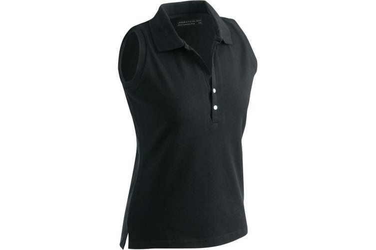 James and Nicholson Womens/Ladies Elastic Sleeveless Polo (Black) (XXL)