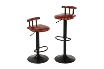 2x Retro Vintage Industrial Bar Stool Brown