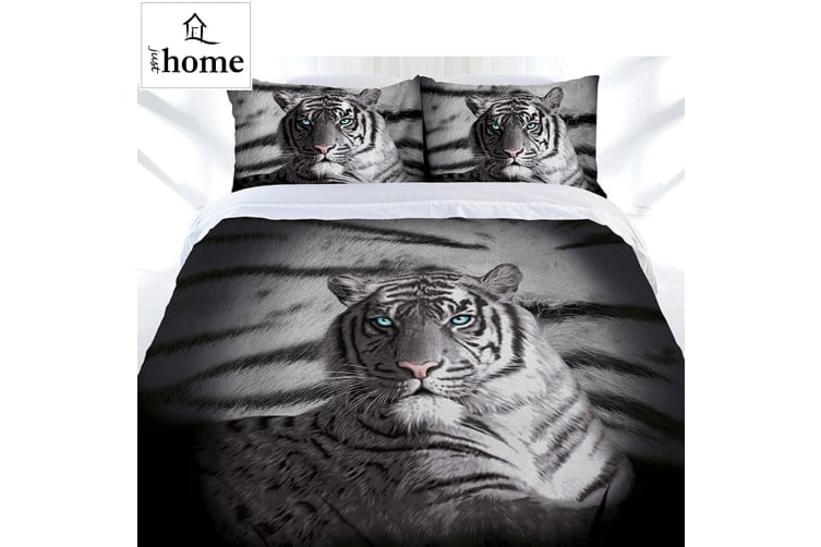 Blue Eyes Stripes Tiger Quilt Cover Set Queen by Just Home