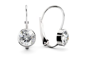 Audrey Lever Back Earrings 8mm w/Swarovski Crystals-White Gold/Clear