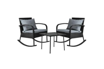 Gardeon 3 Piece Outdoor Rocking Set (Black)