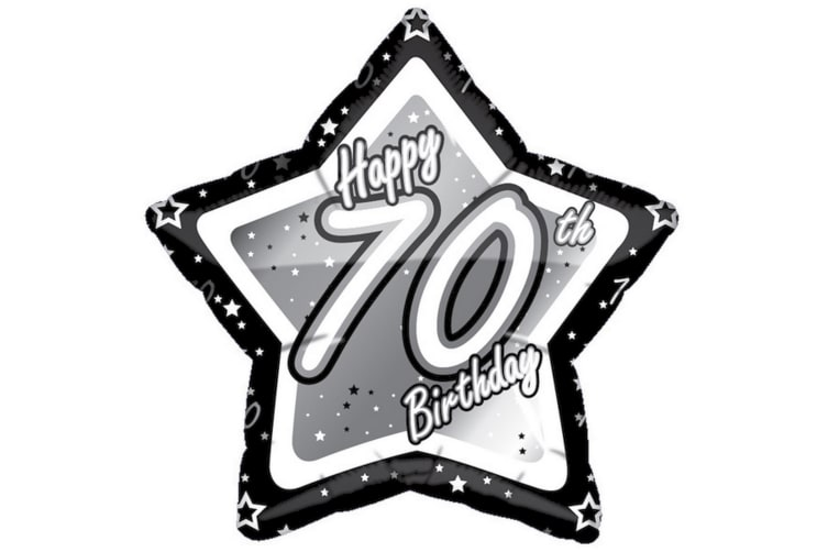 Creative Party Happy 70th Birthday Black/Silver Star Balloon (Black/Silver) (18 Inch)