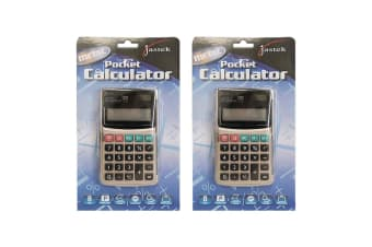 2PK Jastek Pocket Calculator Metal 8 Digit