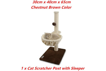 Brown Cat Scratching Post Plush Sleeper Tree House Toy Bed Pet Kitten Scratcher Sisal