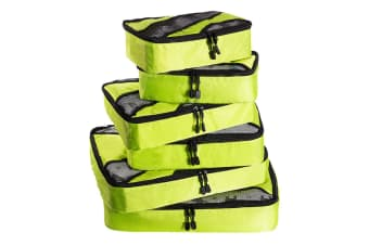 6 Pcs Travel Cubes Storage Toiletry Bag Clothes Luggage Organizer Packing Bags Yellow