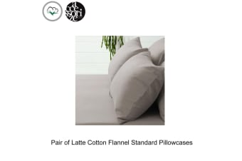 Pair of Latte Cotton Flannel Standard Pillowcases by Accessorize