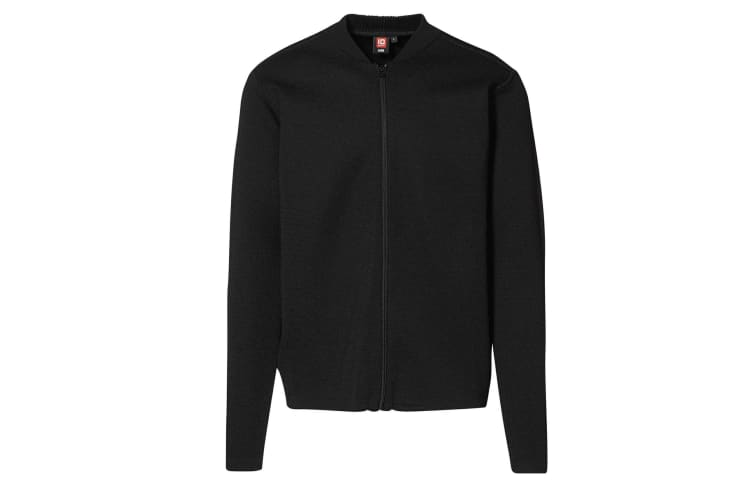 ID Mens Fitted Full Zip Knitted Cardigan (Black) (3XL)