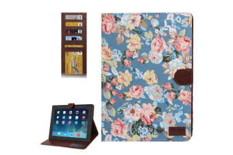 For iPad 2/3/4 Wallet Case Modern Peony Leather Durable Shielding Cover Blue