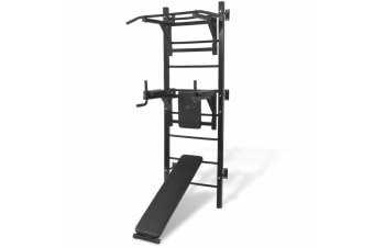 vidaXL Wall-mounted Multi-functional Fitness Power Tower Black