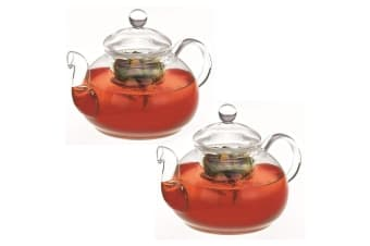 2PK Avanti 800ml Eden Glass Teapot w  Removable Glass Infuser Lid Tea Pot Clear