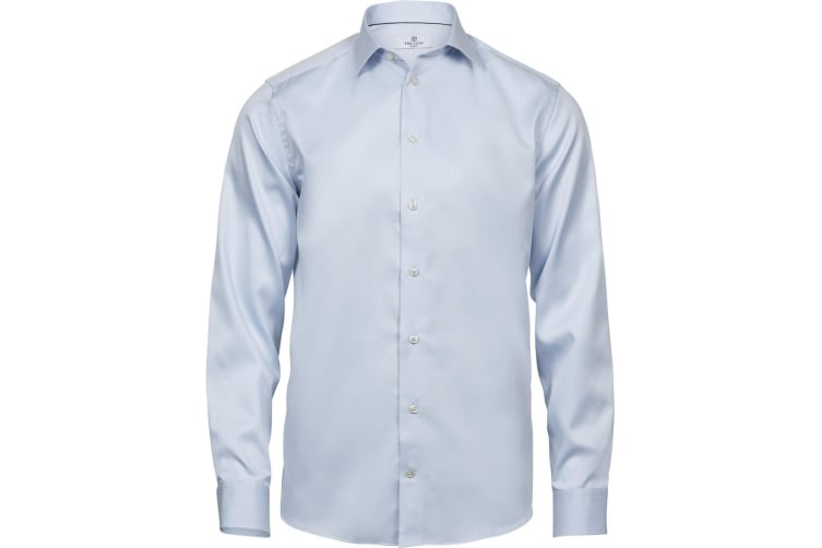 Tee Jays Mens Luxury Comfort Fit Long Sleeve Oxford Shirt (Light Blue) (3XL)