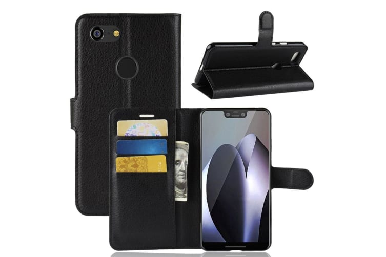 For Google Pixel 3 XL Leather Wallet Case Black Lychee Leather Cover Card Slot