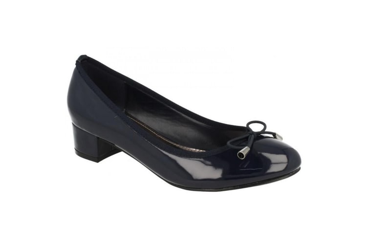 Spot On Womens/Ladies Mid Heel Court Shoes With Elastic Bow (Navy Patent) (4 UK)