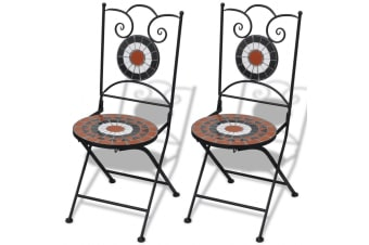 vidaXL Folding Bistro Chairs 2 pcs Ceramic Terracotta and White